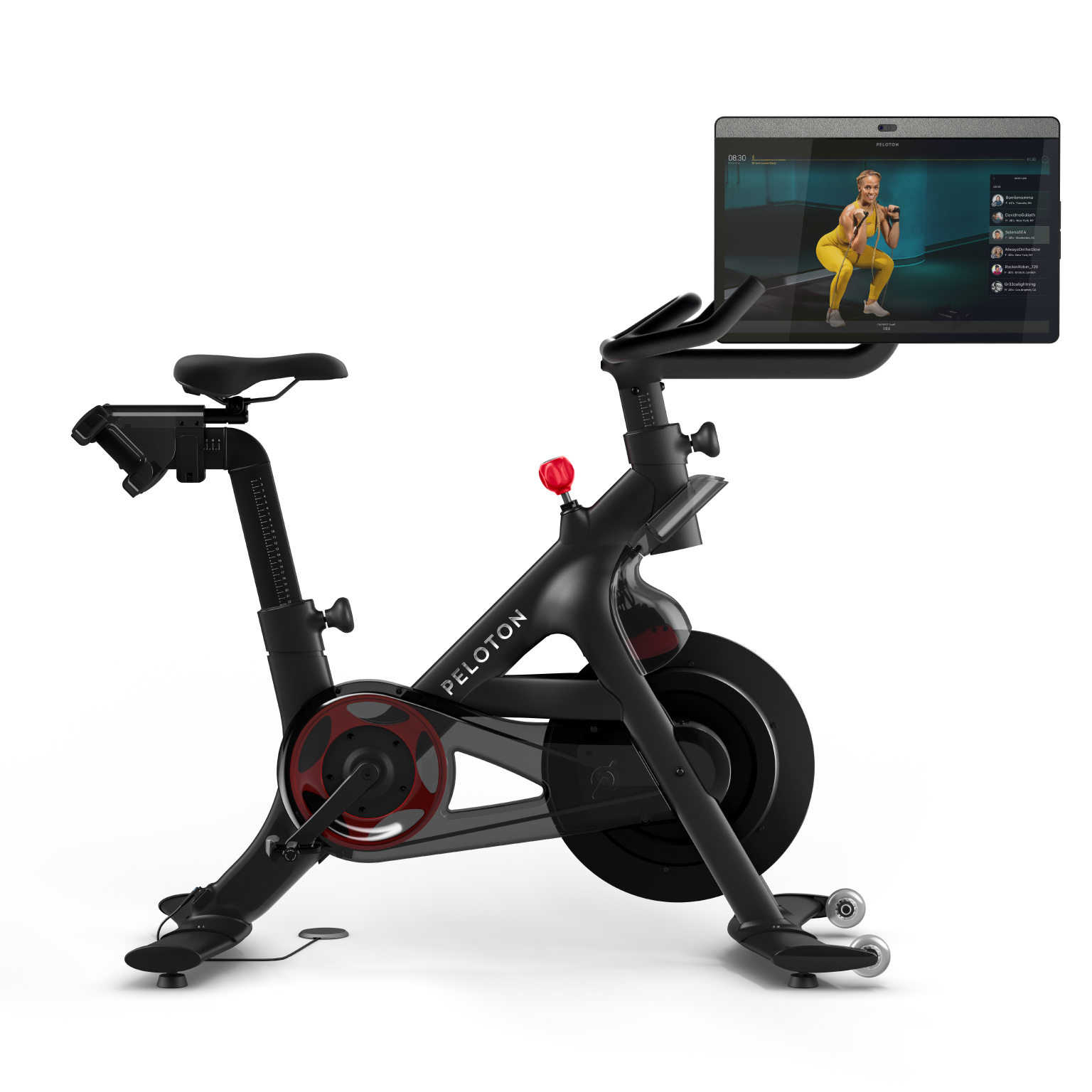 vélo peleton + revue Canada | image du squelette avec écran rotatif